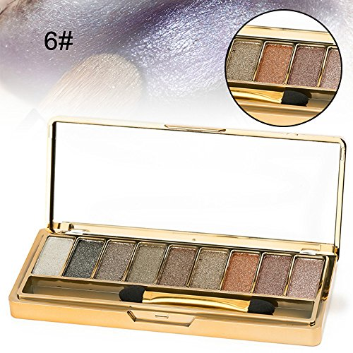 Sparkle Eyeshadow Palette&9 Colors Shimmer Makeup Palette & Makeup Cosmetic Brush Set &Gold Glitter Eyeshadow Palette Highly Shining Pigmented Diamond Eyeshadow&9 Color Eyeshadow 6# (1pc) by vinmax (Image #5)