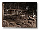 Rustic Barn / Old Dairy Barn, Sepia/ Ready to Hang Wall Art/ Fine Art Photography~ CANVAS WRAP PRINT