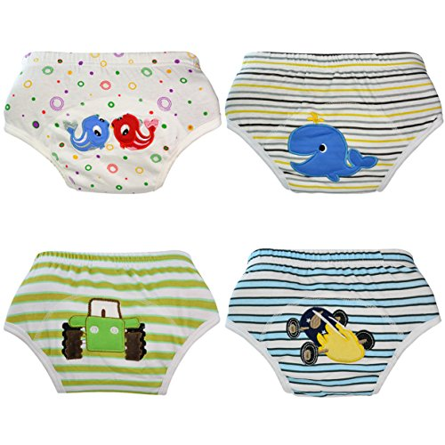 HOVEOX Baby Toddler 100% Cotton Underwear with A Thicker Padding in Appropriate Areas for Absorbing Urine (4 Pack)