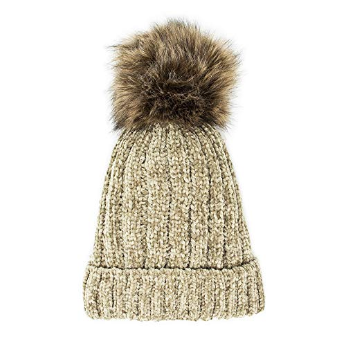 Me Plus Headwear Cable Knit Beanie Faux Fur Pompom with Plush Lining - Soft Chunky Beanie Hats for Women (Chenille-Olive)