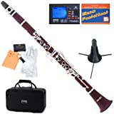 Mendini MCT-30+SD+PB+92D Intermediate Solid Rosewood B Flat Clarinet with Tuner, Case, Stand, Mouthpiece, 10 Reeds and More