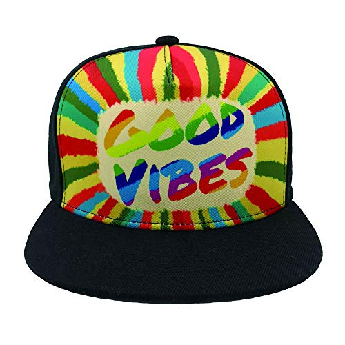 Channel Five Mens Good Vibes Snapback Hats for Men Adjustable Colorful Fitted Flat Bill Hats