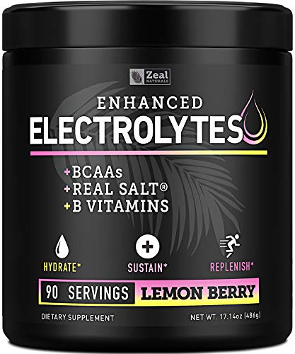 Electrolyte Powder w Real Salt +BCAAs +B-Vitamins (90 Servings | Lemon Berry) Sugar Free Electrolyte Supplement w Potassium Zinc & Magnesium for Complete Hydration & Recovery - Keto Electrolytes