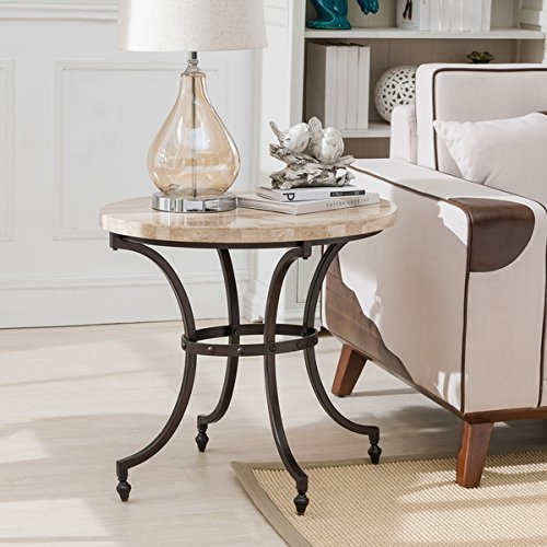 - KD Furnishings Tan/Black Steel Oval Travertine Stone Top Side Accent Table