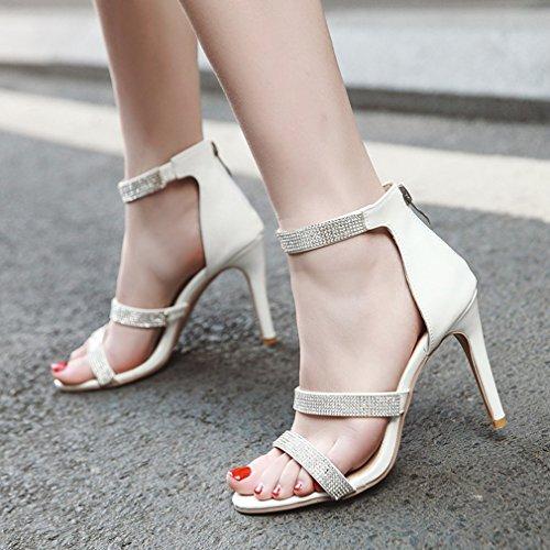 Frauen Glitter Damen Party YE Reißverschluss Stiletto Schuhe Gericht Prom Sandalen Braut Weiß BwZnwqTXfx