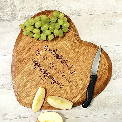 Mr /& Mrs Chopping Board Wedding Gift Heart Gift Anniversary Gift Personalised Chopping Board Custom Cheese Board Engagement Gift