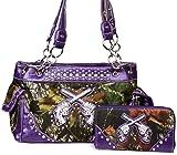Western Crossed Guns Purse Camouflage Handbag Camo W Matching Wallet (Purple)