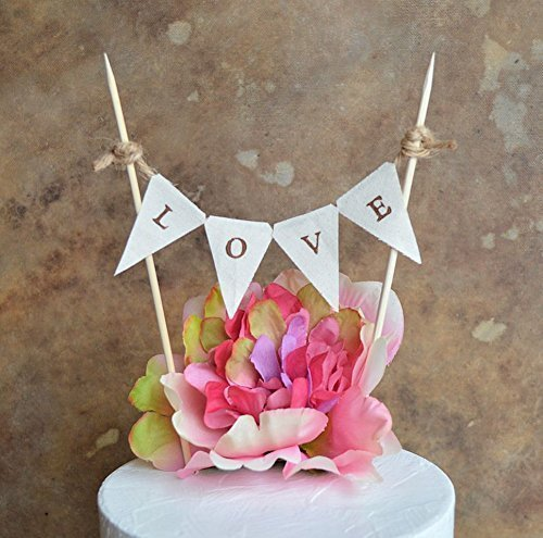 Amazon Com Wedding Cake Topper Natural Cloth Love Bunting
