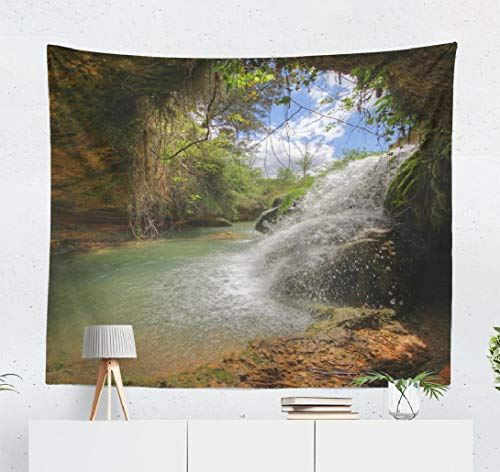 Fantasy-Landscape Wall Tapestry,Tapestry Wall Hanging Source River Spain High Series Fantasy Landscape Landscape Waterfall Wall Decor for Bedroom Living Room Tablecloth Dorm 80x60 Inches
