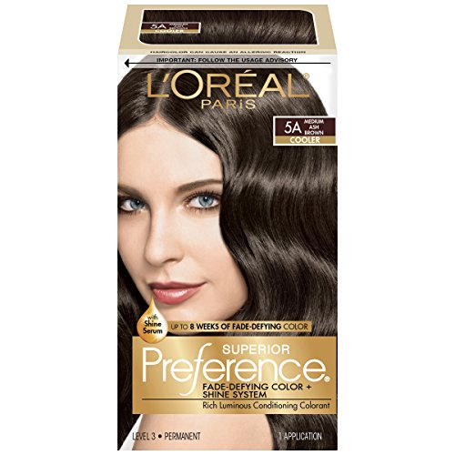 L'Oréal Paris Superior Preference Fade-Defying + Shine Permanent Hair Color, 5A Medium Ash Brown, 1 kit Hair Dye