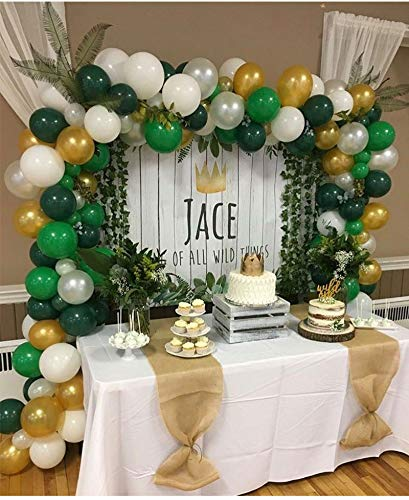 Balloon Arch & Garland Kit | 130 Pearl White & Green & Black Latex Balloons | 24 Green Palm Leaves | Balloon Decorating Strip |Jungle Safari Theme Birthday Baby Shower Party Decorations]()