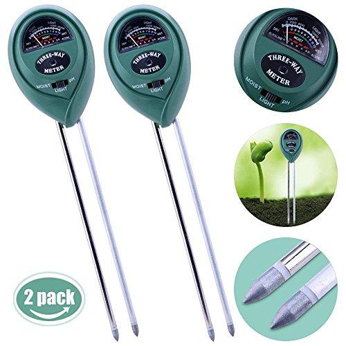 Longruner LKP01 2 Packs 3-in-1 Soil Moisture Light and PH Acidity Tester Pla, Green (1 Portable Ph Unit)