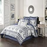 Beautyrest Indochine 4-Piece Comforter Set, Queen, Blue
