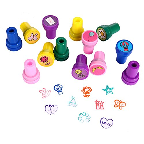 Flower Stampers - Stamps for Kids, LUCKYBIRD Best Sell Kids Stamp Set/ Heart Toy Stamp/Plastic Stamps, 26 Count