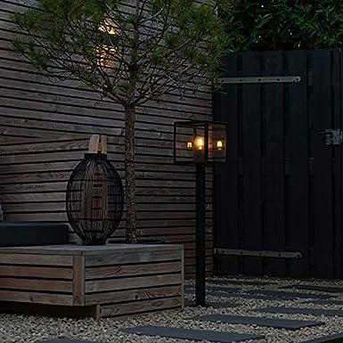 QAZQA Moderno Plaf/ón de exterior industrial negro 2 luces Rotterdam Acero inoxidable Cuadrada Adecuado para LED Max 2 x 60 Watt