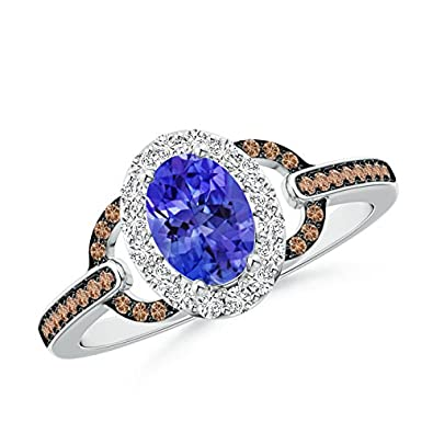 Angara Oval Tanzanite Halo Ring with Brown Diamond Accents WbX3XfpLyI