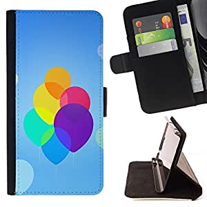 BETTY - FOR Samsung Galaxy S3 III I9300 - Colorful Neon Balloons - Style PU Leather Case Wallet Flip Stand Flap Closure Cover