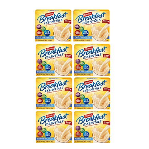 Carnation Breakfast Essentials Powder Drink Mix, Classic French Vanilla, 10 Count Box of 1.26 oz Packets, 8 Pack (Classic French Vanilla, 80 Count)