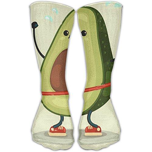 Design Cute Avocado Doing Exercises With Hula Hoop Novelty Art Knee High Socks For Women &Girl ()