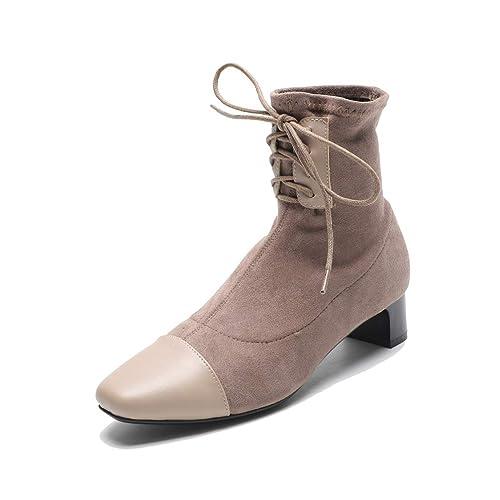 Botas de Mujer Zapatos de tacón Alto con Cordones de Gamuza y Botines Elegantes: Amazon.es: Zapatos y complementos