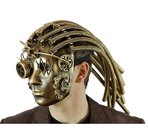 Deluxe Gold Steampunk Alien Robot Adult Fancy Mask Predator Compass Goggle