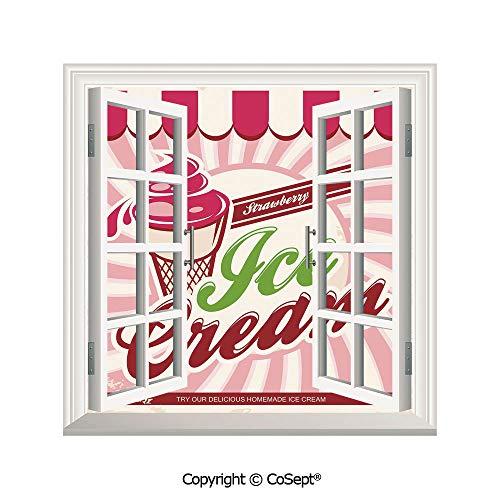 SCOXIXI Artificial Window Wall Applique Landscape Wall Decoration,Retro Strawberry Ice Cream Logo in Soft Tones Homemade Pop Art Decorative,Window Decorative Decals Interior(25.86x22.63 inch)