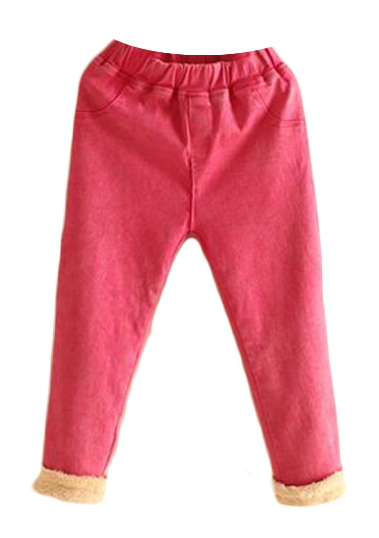 Pivaconis Girl's Winter Thick Warm Lined Soft Baggy Elastic Wasit Pants