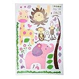 niceeshop(TM) Lovely Elephant Lion Giraffe Monkey Jungle Animal Decal Wall Art Stickers,Roseo and Purple