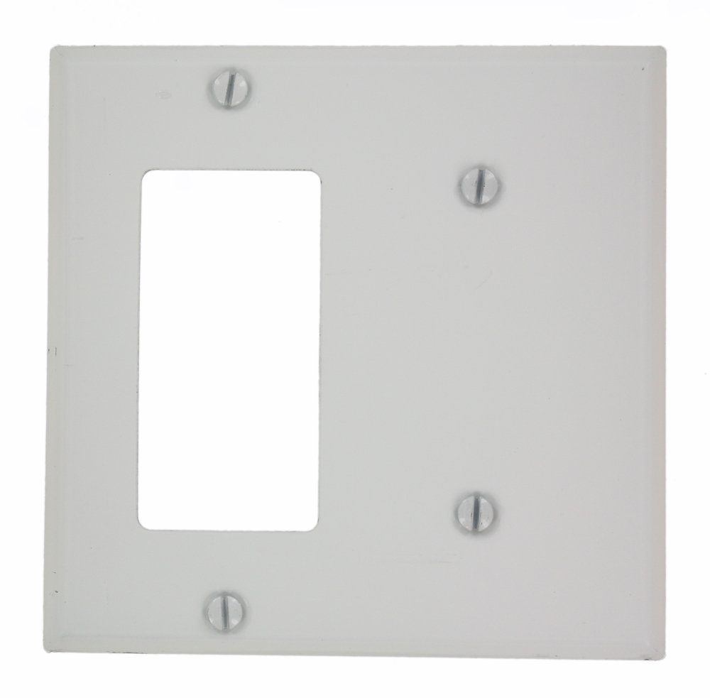 Leviton P1426-W 2-Gang 1-Blank 1-Decora/GFCI Device Combination Wallplate (White)