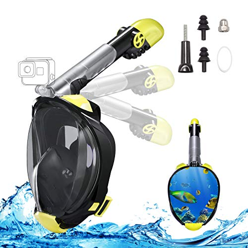 Full Face Snorkel Mask, 2019 Upgraded Snorkeling Mask with Newest Breathing and Dry Top System, Foldable 180 Degree View Dive Mask with Camera Mount and Earplug, Anti-Leak Anti-Fog for Adults Kids (Best Dive Mask 2019)