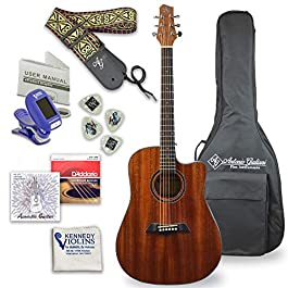 Antonio Giuliani Acoustic Mahogany Guitar Bundle (Clear) (DN-1) – Dreadnought Guitar with Case, Strap, Tuner, Strings…