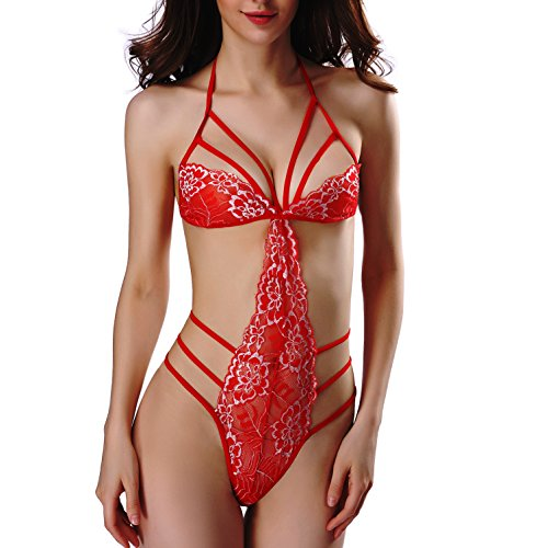 Careteilly Sexy Lingerie Red Sexy Lingerie For Women For Sex Red Lingerie For Sex Lace Fishnet Lingerie For Women Sex Christmas Gifts (Medium)