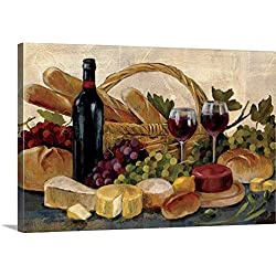 "Silvia Vassileva Premium Thick-Wrap Canvas Wall Art Print entitled Tuscan Evening Wine 48""x32"""
