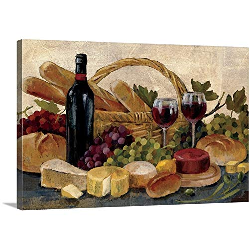 (Tuscan Evening Wine Canvas Wall Art Print, 36