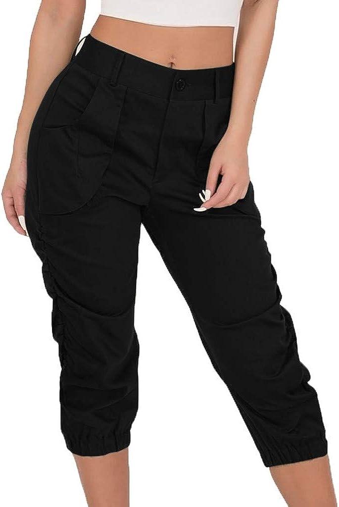 wodceeke Fashion Women Summer Ruffle Striped Print Buttons Bandage Cotton and Linen Beach Short Pants