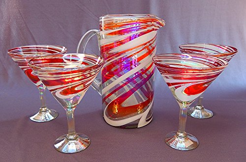 Hand Blown Martini / Margarita Glasses & Pitcher Set, Red & White Swirl, Candy Cane Design (4 Glasses) by HandBlownGlass