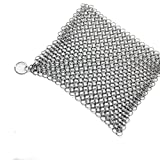 "Perman 6""x6"" Stainless Steel 316L Cast Iron Cleaner Chainmail Scrubber for Cast Iron Pan Pre-Seasoned Pan Dutch Ovens Waffle Iron Pans Scraper Cast Iron Grill Scraper Skillet Scraper"