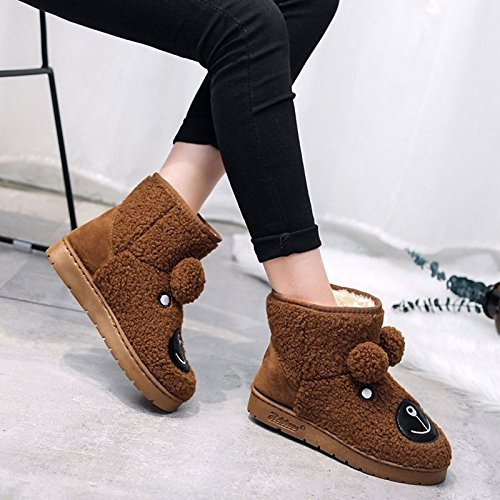 Calf Boots Brown Cashmere Black Round Winter HSXZ Mid Heel Boots Boots Shoes Casual for Toe Flat Snow Women's Black ZHZNVX Gray nOw40Rt0