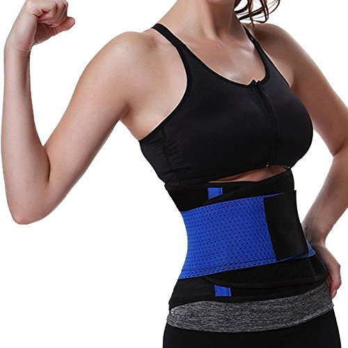 Leyorie Waist Trainer Belt Microfiber Seamless Weight Loss Top Mesh Breathable Tummy Fat Burner Sport Girdle (Blue,XL)