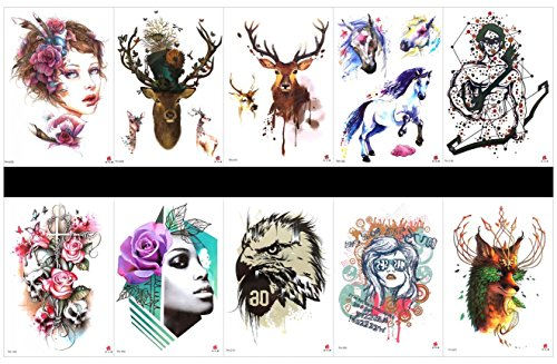 SPESTYLE 10pcs tattoo deer tattoos waterproof and non toxic real fake tattoos in 1 packages,including warrior,skull with flowers,owl,wolf,beautiful girds,deer,horse,etc.