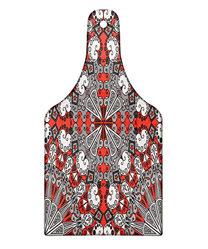 Arabesque Red Wine - Lunarable Classic Cutting Board, Colorful Ethnic Pattern Arabesque Ornamental Antique Old Artistic Design, Decorative Tempered Glass Cutting and Serving Board, Wine Bottle Shape, Red Grey Pale Grey