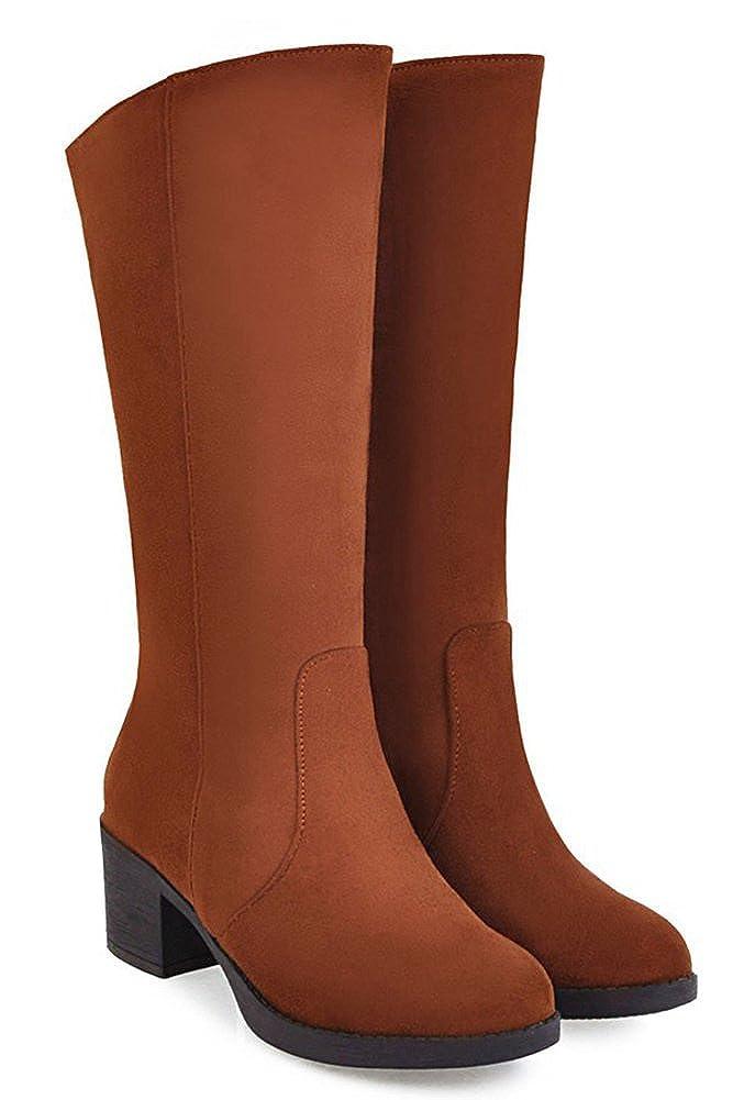 Aisun Damen Klassisch Runde Zehen Zehen Zehen Blockabsatz Ohne Verschluss Langschaft Stiefel 746f18