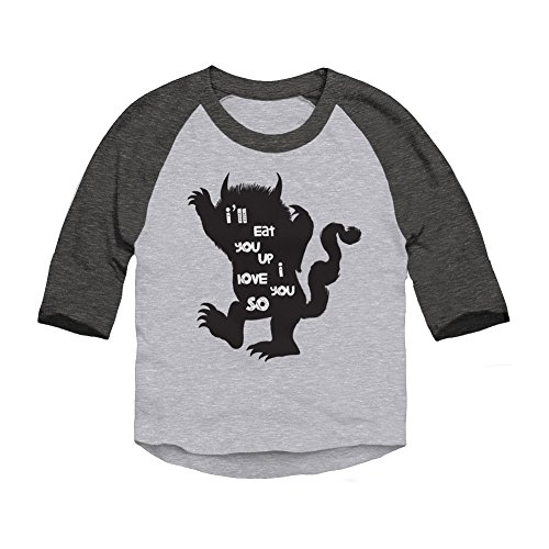 Trunk Candy Toddlers I'll Eat You Up I Love You So 3/4 Sleeve Raglan T-Shirt (Heather/Smoke, 3T)