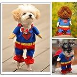 Sanlise New Pet Cat Dog Puppy Cotton Clothes Costumes Superman Suit size XS/S/M/L/XL (S)