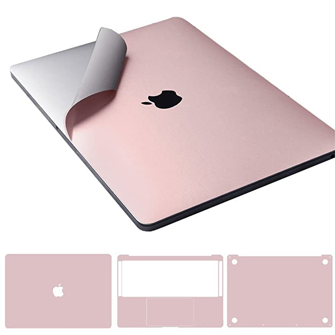 "Leze - 4-in-1 Full Body MacBook Skin Protector Decals Sticker for Apple Macbook 12-inch 12"" A1534 with Retina Display - Rose Pink best laptop stickers for professionals"