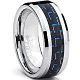 Ultimate Metals Co. 8MM Bague Alliance Tungstene Avec Fibre De Carbone Noir et Bleu