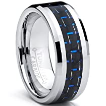Metal Masters Co.® 8MM Mens Tungsten Carbide Ring W/ BLACK & BLUE Carbon Fiber Inaly Sizes 5 to 15