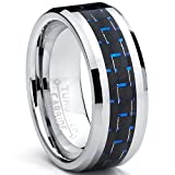 8MM Men's Tungsten Carbide Ring W/ BLACK & BLUE Carbon Fiber Inaly Size 5