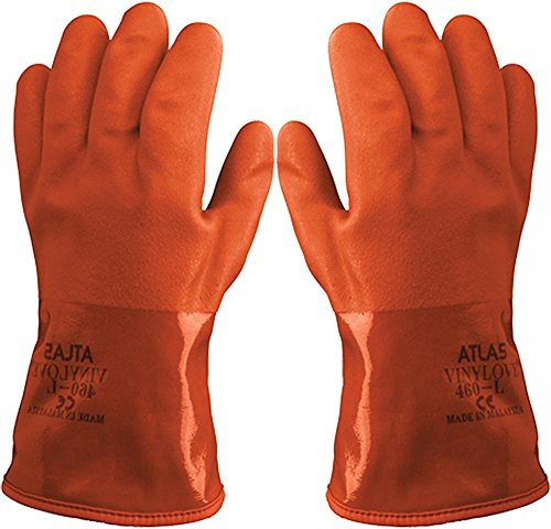 Atlas Showa - Small (24-Pair) - Cold Weather Double-Dipped PVC Freezer Work Gloves with Insulated Acrylic Liner & Rough Grip - Orange - 460 by Atlas (Image #2)