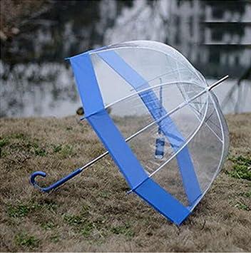 WYF-YS Setas reforzado transparente mango largo paraguas pájaro jaula paraguas (Color : B